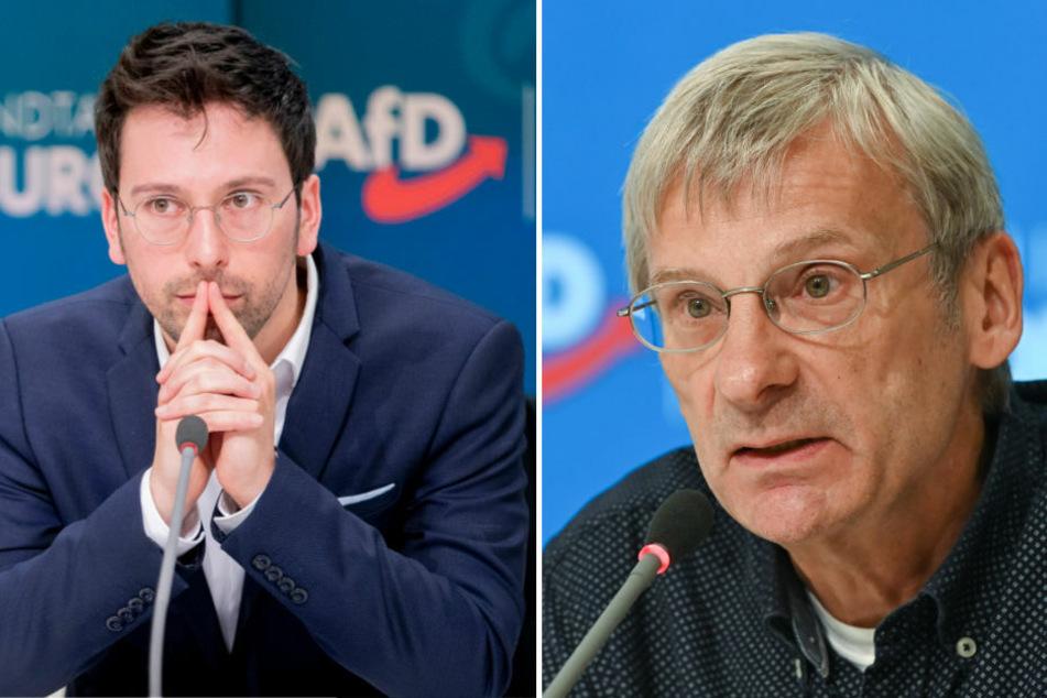 Der Parlamentarische Geschäftsführer Dennis Hohloch (31, l.) hat am Montag angekündigt, bei der Wahl zum AfD-Fraktions-Chef in Brandenburg gegen Christoph Berndt (64) antreten zu wollen.