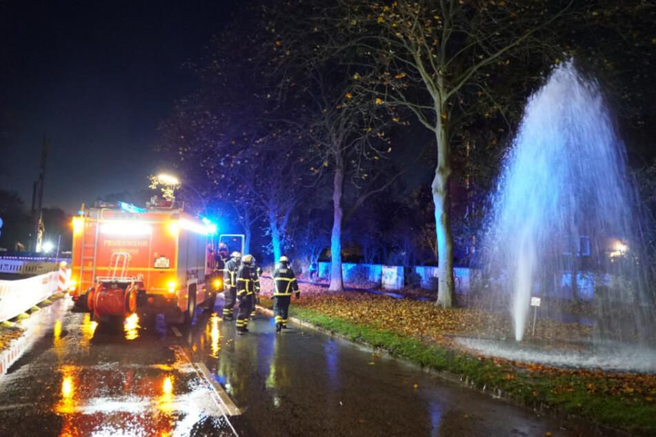 Feuerwehr staunt nicht schlecht: Sechs-Meter-Fontäne schießt aus dem Boden