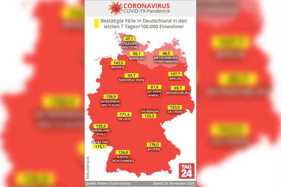 Die Deutschland-Karte mit den tagesaktuellen Sieben-Tages-Inzidenz-Werten der Bundesländer.