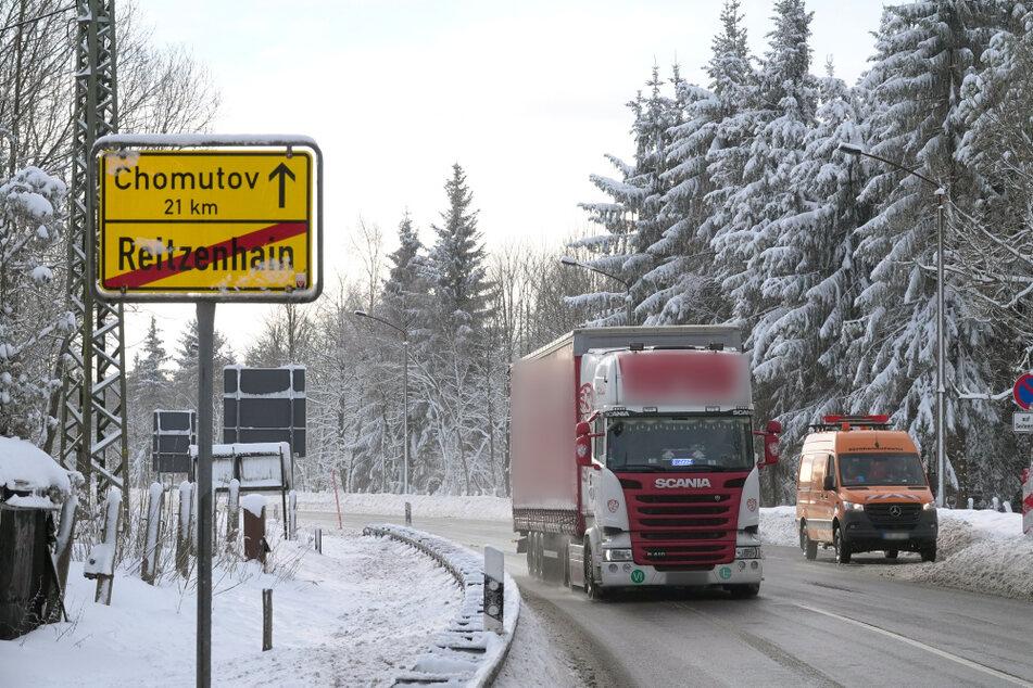 An der tschechischen Grenze in Reizenhain (Erzgebirge) wird die Corona-Testpflicht nur stichprobenartig von der Bundespolizei kontrolliert.