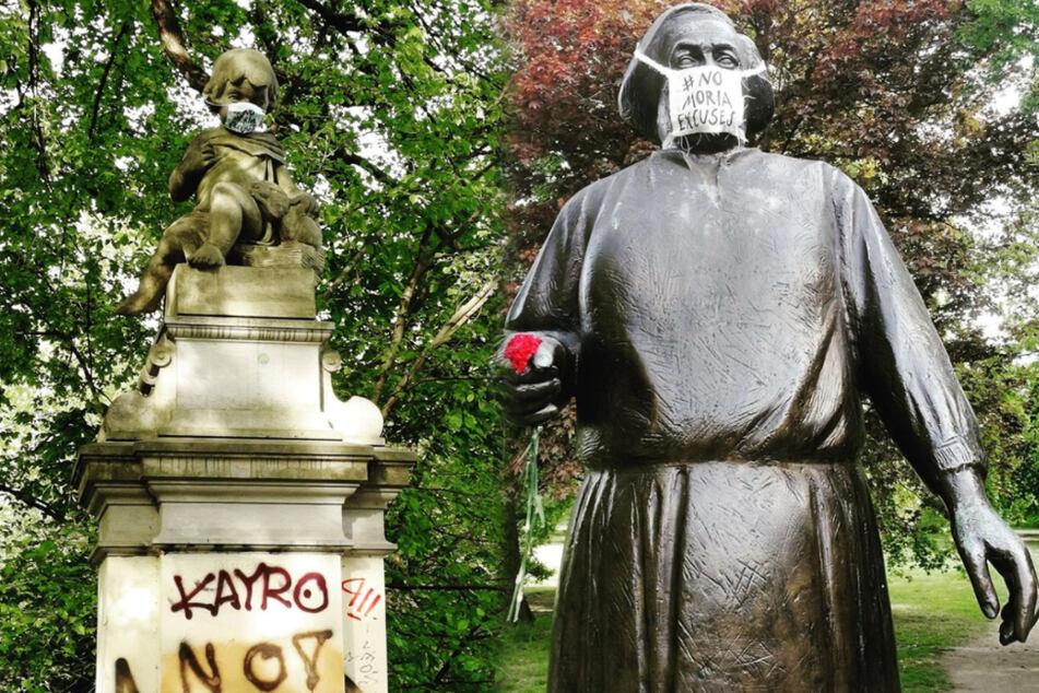 Warum tragen Leipziger Statuen und Skulpturen plötzlich Mundschutz?