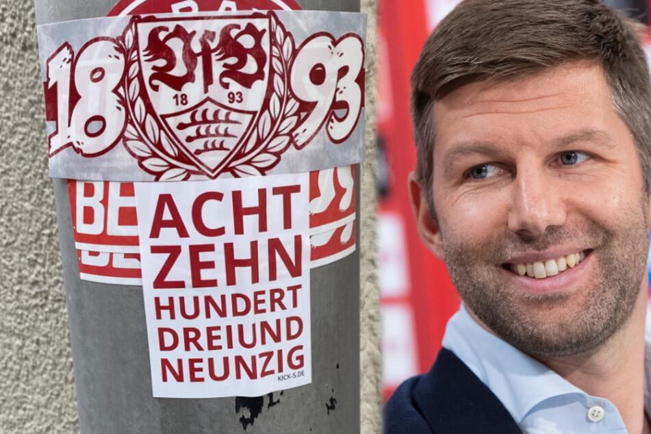 Vom Union Berlin-Aufkleber ist kaum noch was zu sehen, dafür aber umso mehr vom VfB. Vorstandschef Thomas Hitzlsperger kann aufatmen. (Fotomontage)