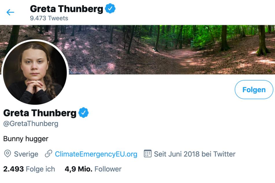 """Unter anderem auf Twitter nennt sich Greta Thunberg (18) nun """"Bunny Hugger"""", also """"Häschen-Umarmerin""""."""