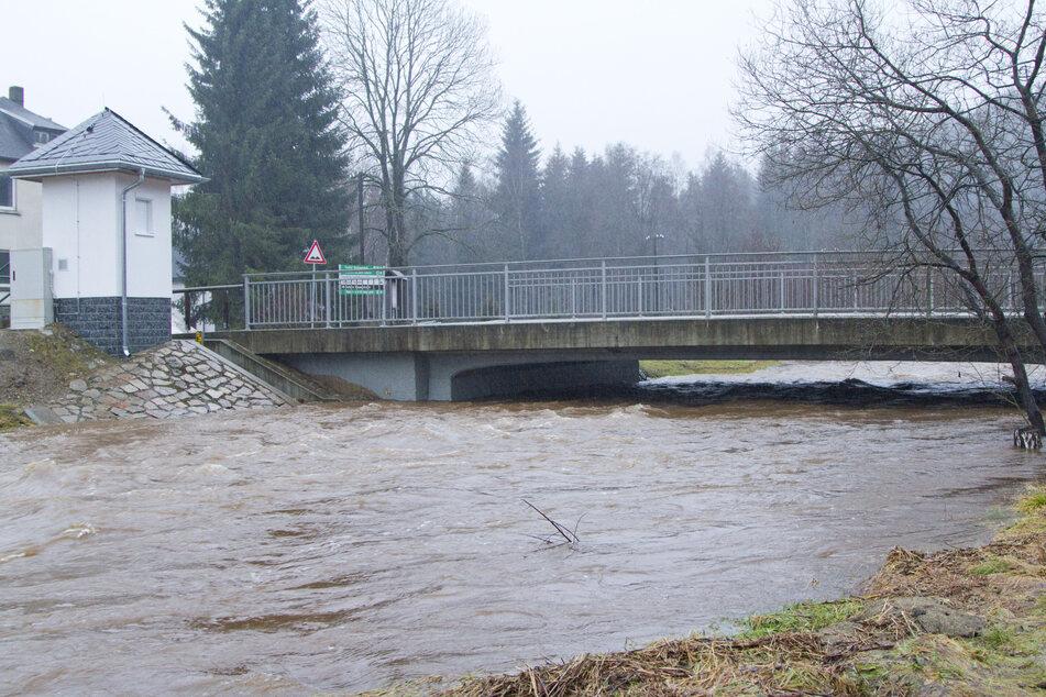 Hochwasseralarmstufe einsin Rautenkranz: Der Wasserpegel stieg fast um einen halben Meter (Archivbild).