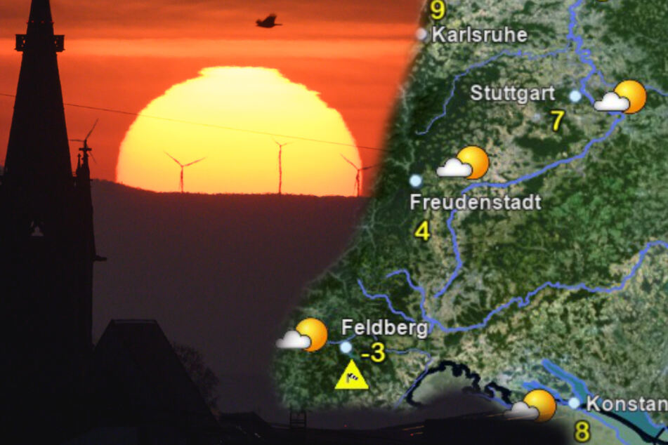 Die Sonne geht nicht nur über der Schwäbischen Alb (vor der Filderebene von Leinfelden-Echterdingen links im Bild) auf, sondern strahlt in ganz Baden-Württemberg. (Fotomontage)