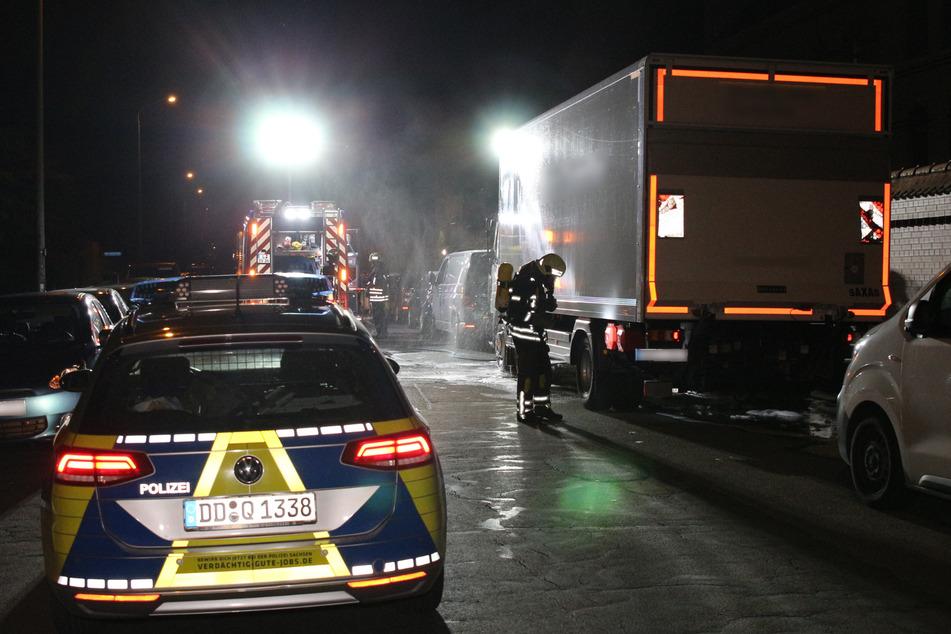 In der Nacht auf Mittwoch brannte ein Lkw in Leipzig-Gohlis.