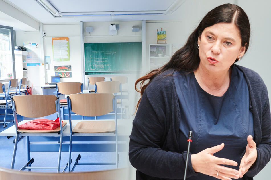 Berlins Bildungssenatorin Sandra Scheeres (51) will am Präsenzunterricht im neuen Schuljahr festhalten (Bildmontage).