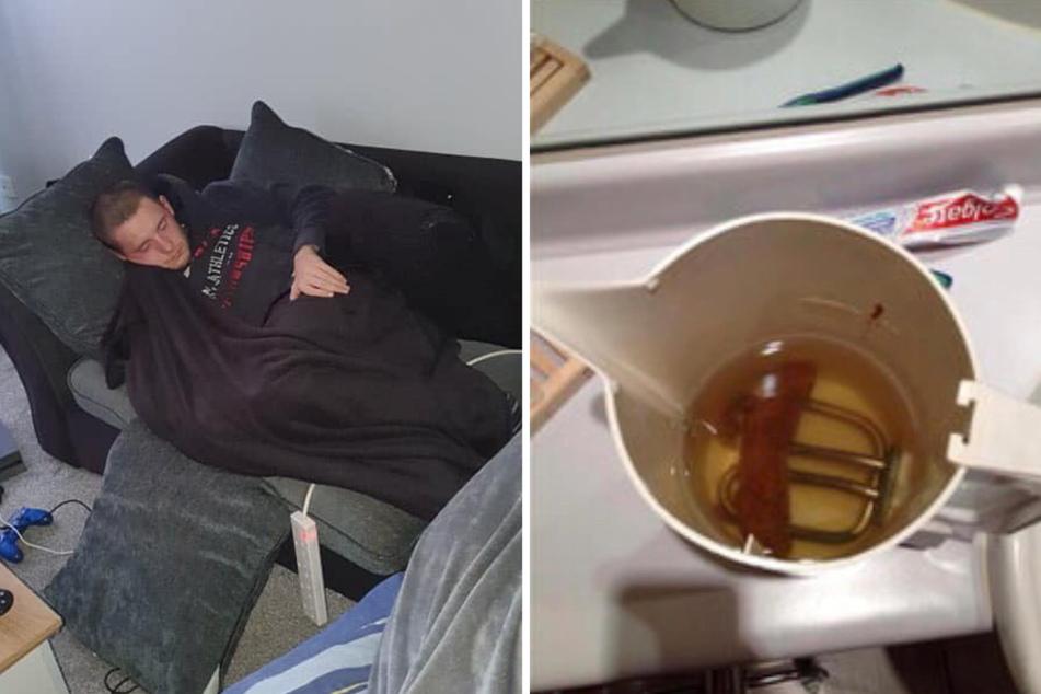 Der fremde Mann schlief seelenruhig auf dem Sofa, nachdem er zuvor offenbar ein großes Geschäft im Wasserkocher verrichtet hatte.