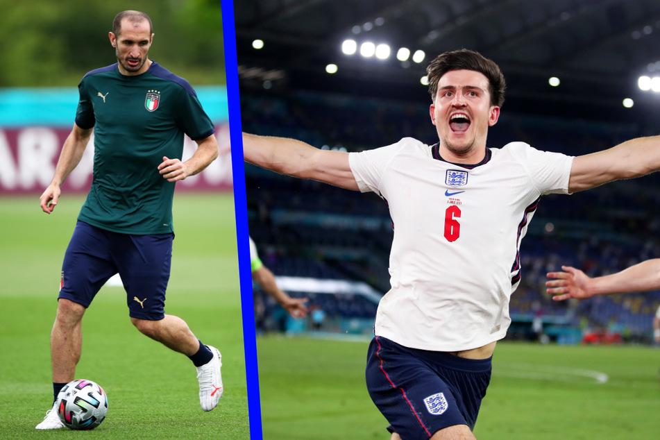 Italiens Kapitän Giorgio Chiellini (36, l.) zählt zu den sympathischsten Spielern des Turniers - und den erfahrensten. Auf englischer Seite überzeugt die wuchtige Abwehrkante Harry Maguire (28.) defensiv, bei Standards aber auch offensiv.