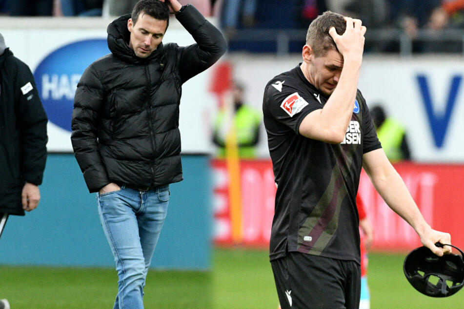 KSC-Coach Christian Eichner (links im Bild) und Abwehrspieler Damian Rosbach fassen sich nach der 1:3-Niederlage gegen den 1. FC Heidenheim an den Kopf. (Fotomontage)