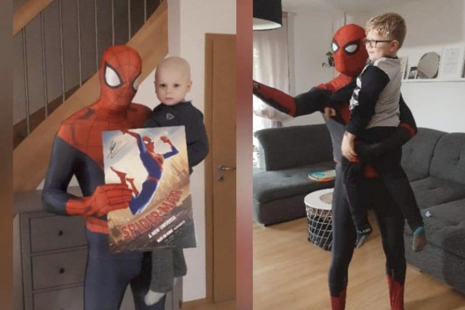 Spider-Man besucht Max zweimal. Beim ersten Mal (links) war Max noch sehr krank, beim zweiten Bild (rechts) ist Max krebsfrei.