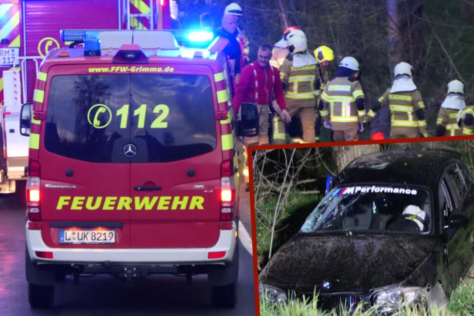 Sachsen: BMW überschlägt sich, Fahrer (19) und Beifahrerin verletzt