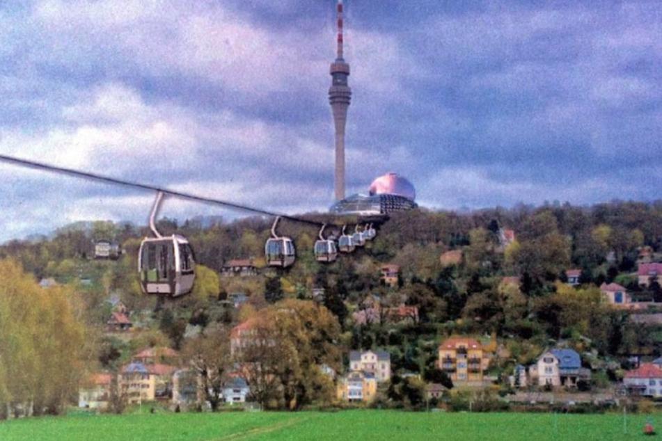 So sah die Seilbahn in einer ersten Idee des Fernsehturm-Vereins aus.