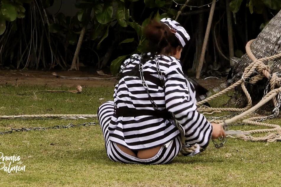 Da zieht's Dir die Hosen aus! Janine Pink (32) hatte mit ihren viiiiel dickeren Seilen gehörig zu kämpfen.