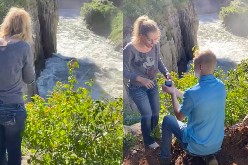 After Courtney looks desperately into the water, the real proposal comes.