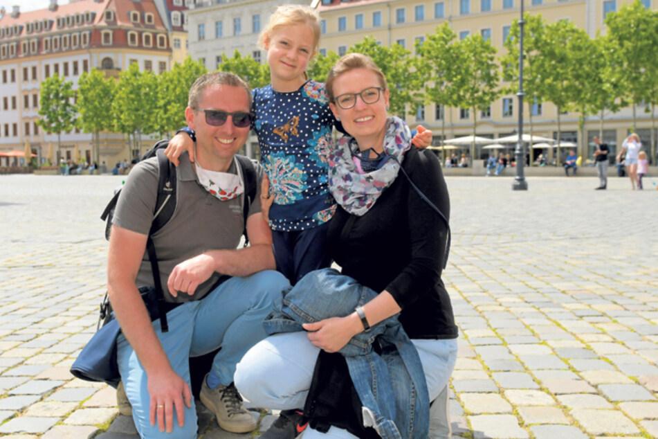 Frank (43), Anke (36) und Eva (5) aus Leipzig.