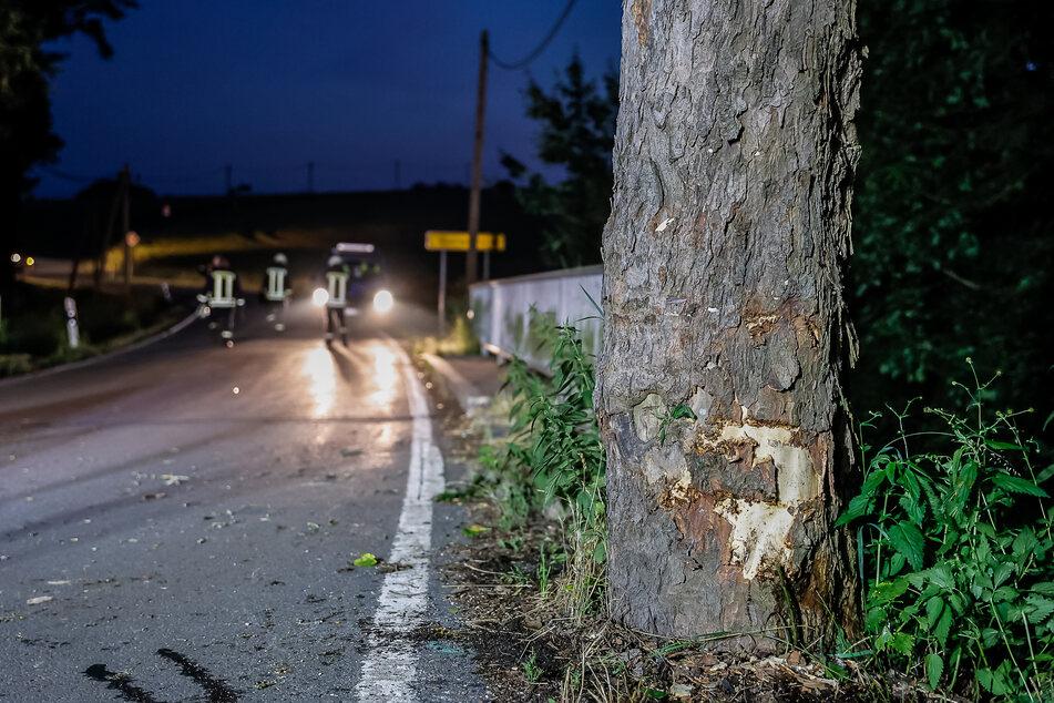 Der Ford knallte in Thoßfell auf der Wetzelsgrüner Straße frontal gegen einen Baum.