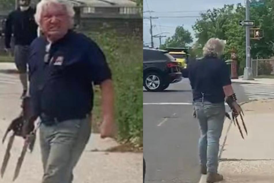 """Mit seinem """"Killer""""-Handschuh bedroht Frank Cavalluzzi (54) einige Demonstranten."""