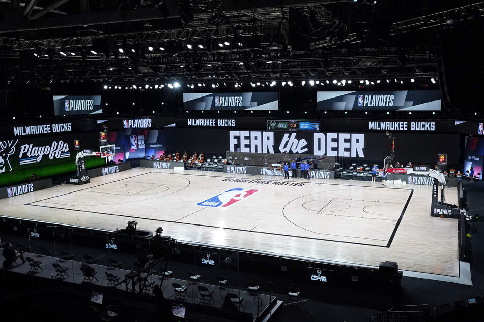 An empty court after the Milwaukee Bucks staged a walkout in protest at police brutality against Black Americans.
