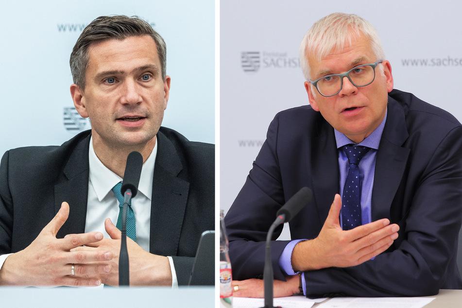 Martin Dulig (l., 46, SPD) kündigte das Bildungsticket an. Hartmut Vorjohann (57, CDU) kann sich die Finanzierung hingegen nicht vorstellen.
