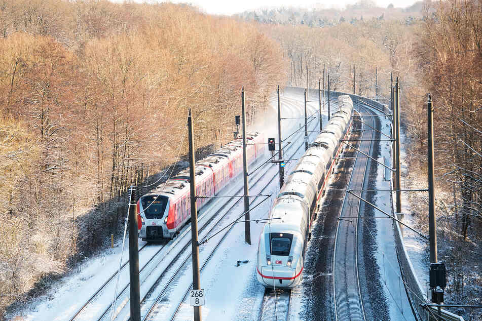 Eine S-Bahn und ein ICE der Bahn fahren auf verschneiten Gleisen durch einen Wald.