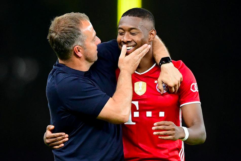 Trainer Hansi Flick (44, l.) jubelt mit Münchens David Alaba (28).