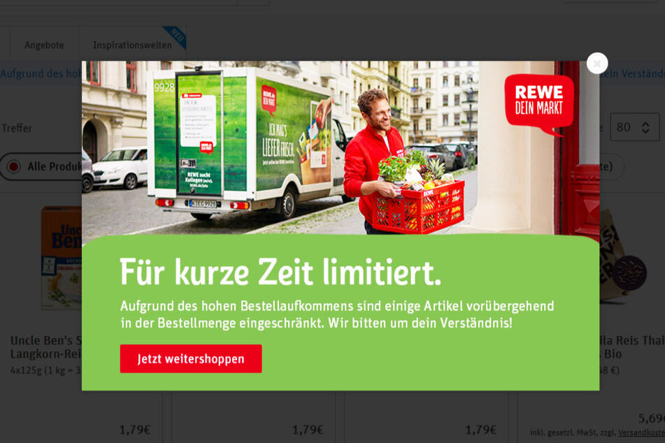 Diesen Hinweis bekommen Kunden aktuell im REWE-Onlineshop, wenn sie von einem Produkt außergewöhnlich viel bestellen wollen.