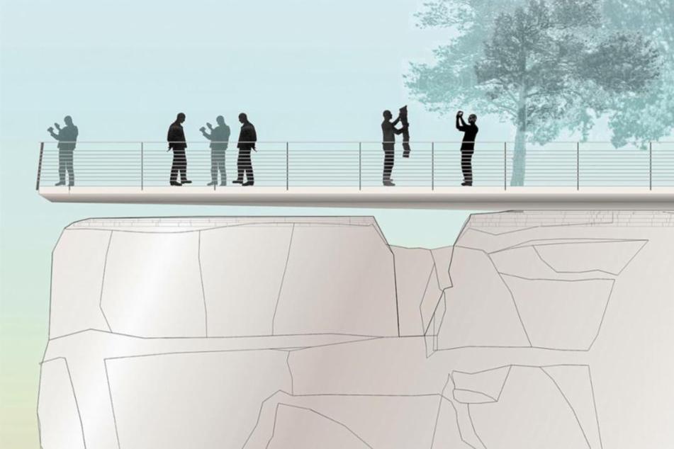 Die neue Aussichtsplattform soll über dem vorderen Teil der Bastei-Felsen schweben.