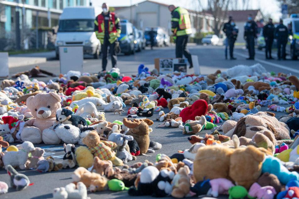 Aktion gegen Tierversuche: Tierschützer blockieren Straße mit Kuscheltieren