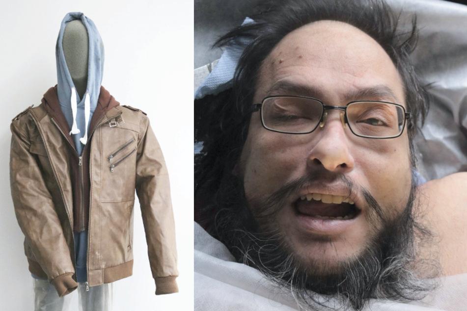 Auf dem linken Bild ist die Kleidung des Toten abgebildet, die er an dem Tag seines Todes trug. Mit dem Lichtbild sucht die Polizei nach Hinweisen zu seiner Identität.