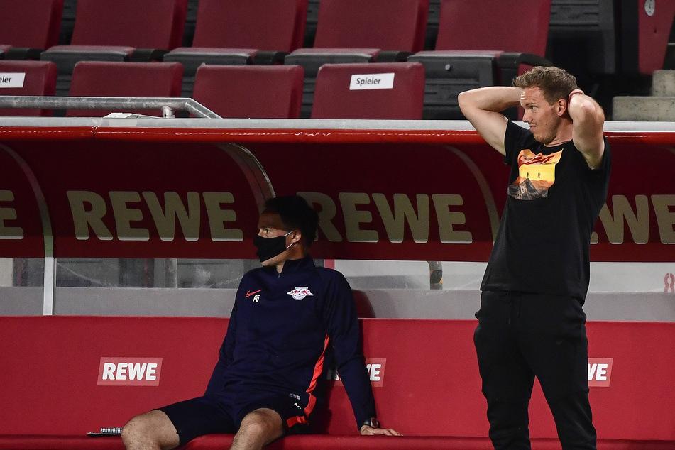 Haderte nicht nur einmal und schrie sich mehrfach die Seele aus dem Leib: RB-Trainer Julian Nagelsmann (r.).