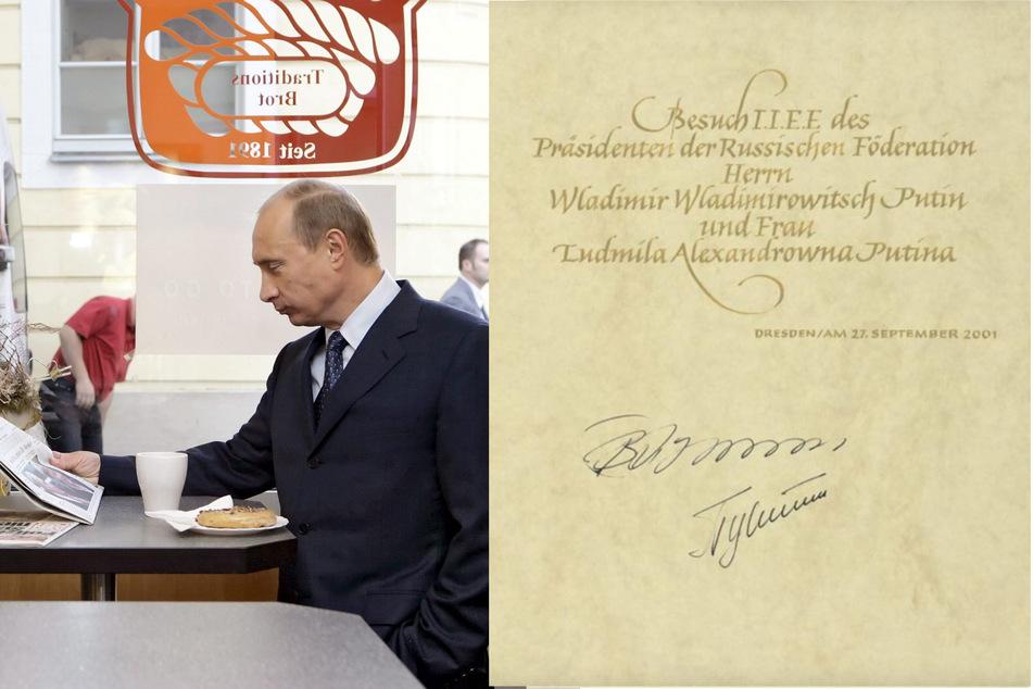 Putin, Meister der geschwungenen Handschrift, las bei einem späteren Dresden-Besuch auch schon die Morgenpost. (Bildmontage)