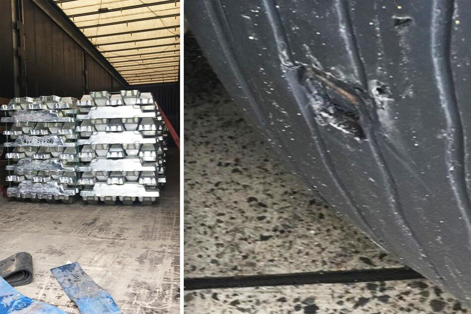 22 Tonnen unzureichend gesichertes Aluminium und ein Loch im Reifen: Der Brummi-Fahrer musste auf dem Rastplatz ausbessern.