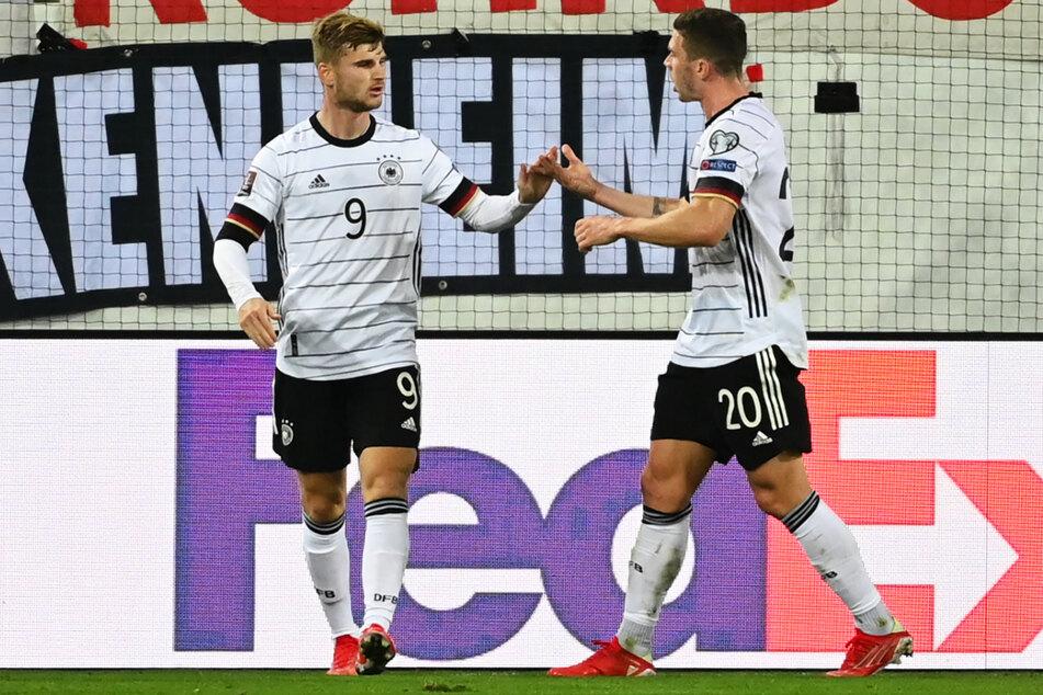Verhaltener Jubel: Timo Werner (l.) erzielte das 1:0 für Deutschland gegen Liechtenstein.