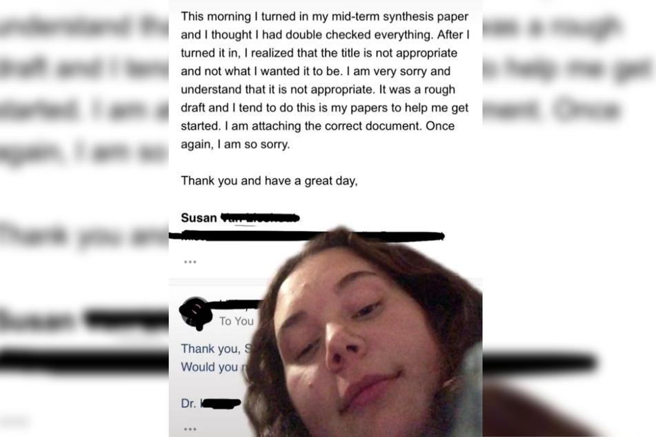 Sie entschuldigte sich schließlich für das Missgeschick und bat um eine zweite Chance, die Arbeit einzureichen.