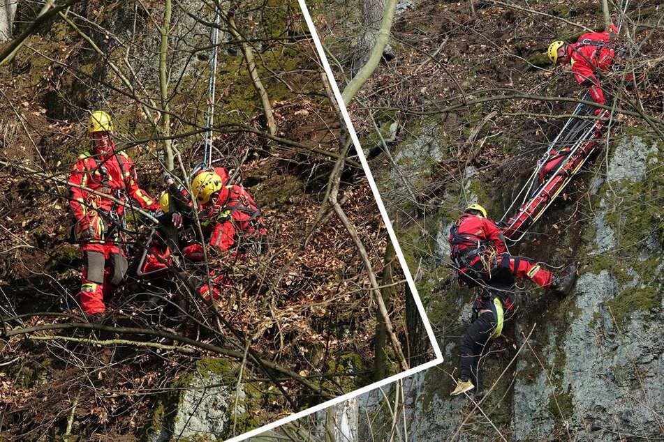 Unglück zu Ostern: Radfahrer stürzen Hang in Freital hinab, Höhenrettung im Einsatz!