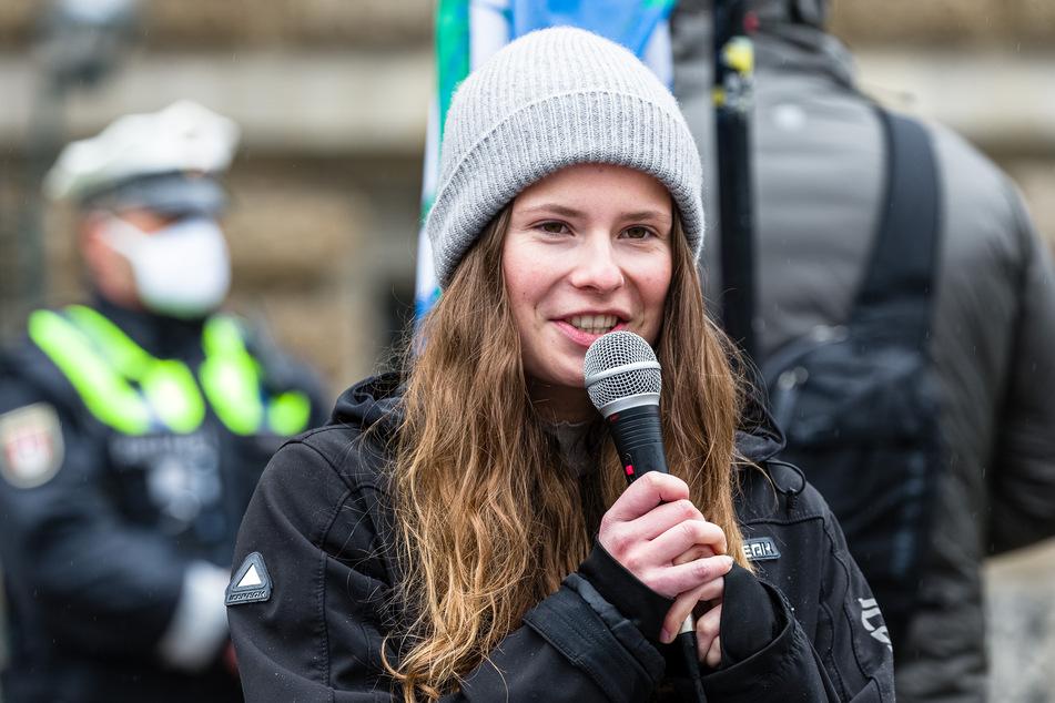 Die Fridays for Future Aktivistin Luisa Neubauer bei einer Demonstration in Hamburg. (Archivbild)