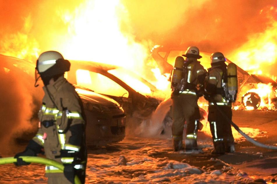 Berlin: Brandstiftung? Mehrere Autos stehen lichterloh in Flammen