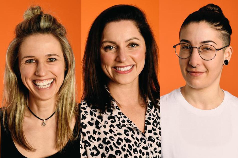 """Die """"Princess Charming""""-Kandidatinnen Anja (30, l.), Bine (33, M.) und Britta (26) (Fotomontage)"""