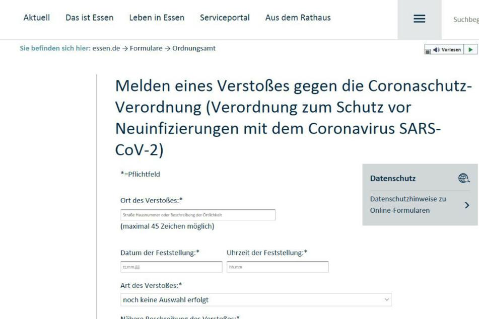Der Stein des Anstoßes: Das Onlineformular der Stadt Essen, über welches Verstöße gegen die geltenden Corona-Maßnahmen gemeldet werden können. Berlin will auf ein solches Vorgehen verzichten.