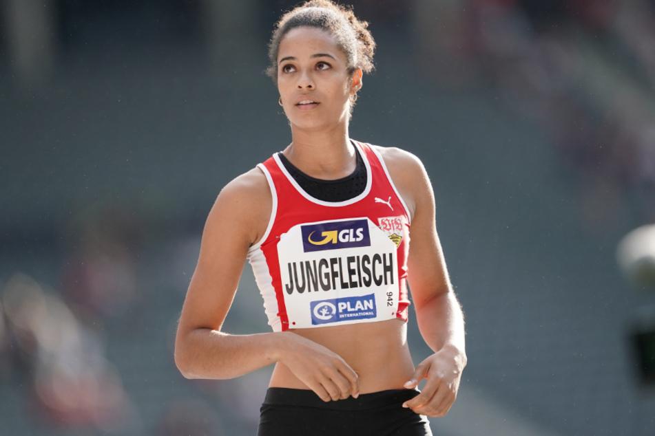 Hochspringerin Marie-Laurence Jungfleisch (29) bei den Deutschen Meisterschaften 2019 im Berliner Olympiastadion.