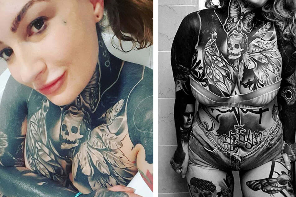 Single mom races against time to get a full tattoo bodysuit before she turns 40