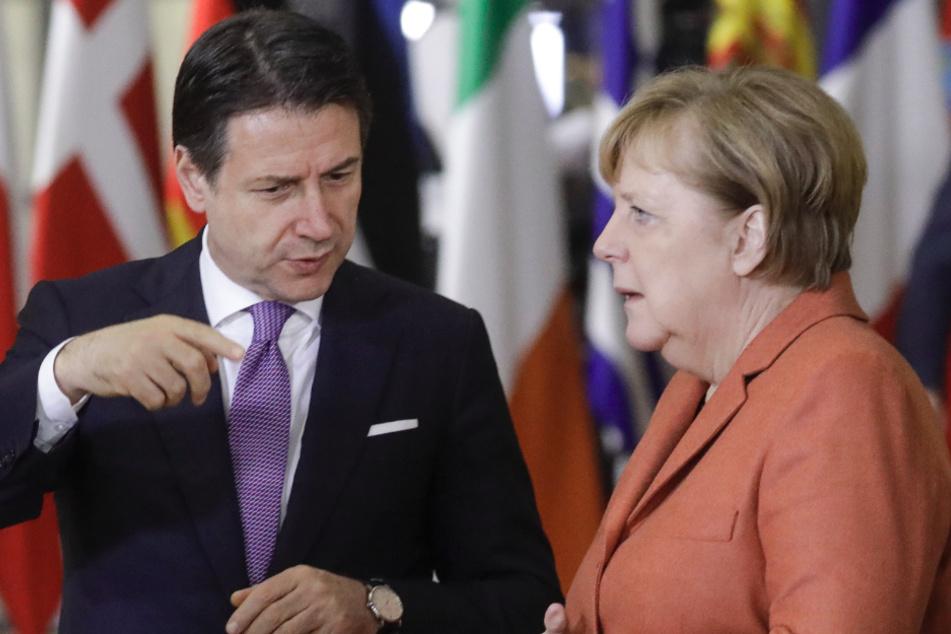 2019 dachte niemand an Corona: Kanzlerin Angela Merkel (65, CDU) mit dem italienischen Premier Giuseppe Conte (55) (Archivbild).