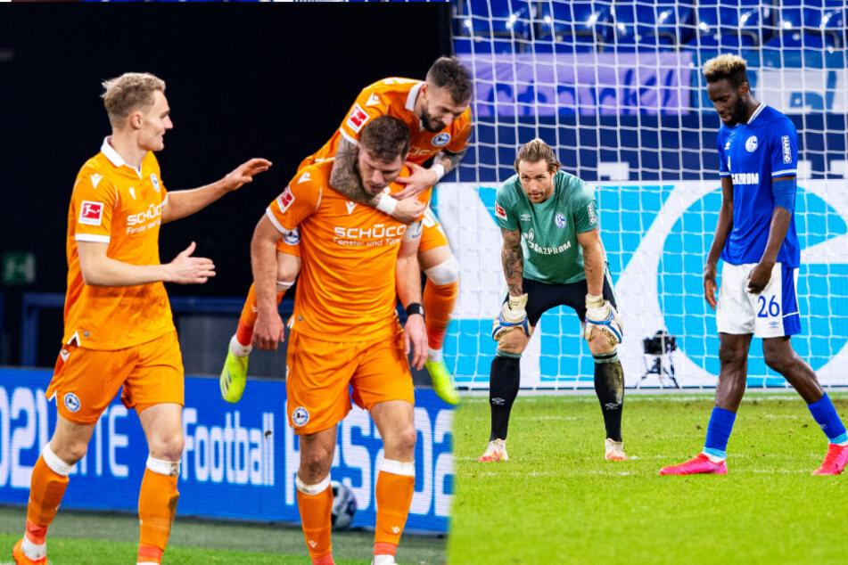 Fabian Klos (2.v.l.) fügte dem FC Schalke 04 um Keeper Ralf Fährmann (2.v.r.) und Innenverteidiger Salif Sané (r.) die nächste Niederlage zu.