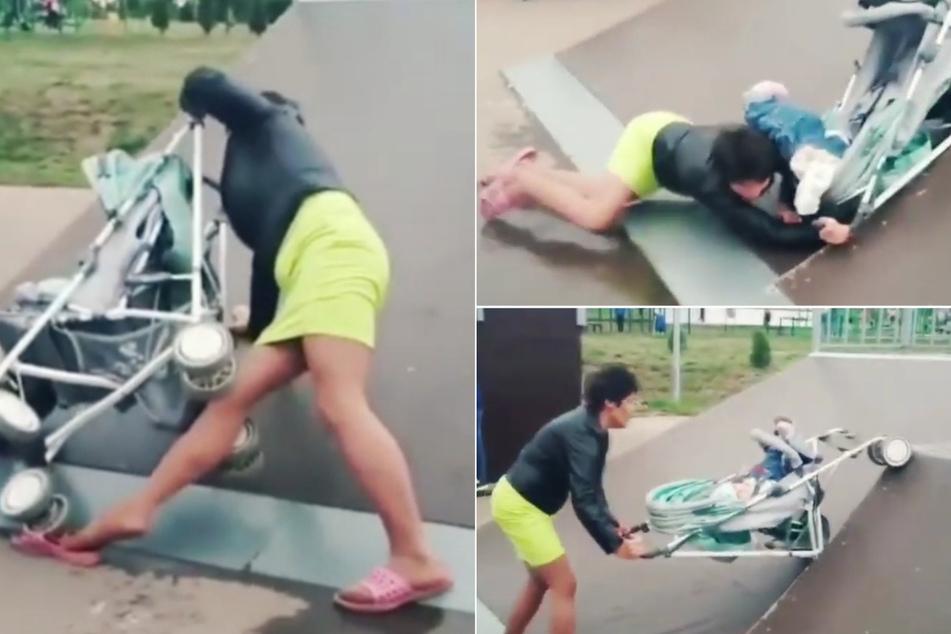Betrunkene Mutter will mit Kinderwagen über Skateboardrampe: Baby fällt raus