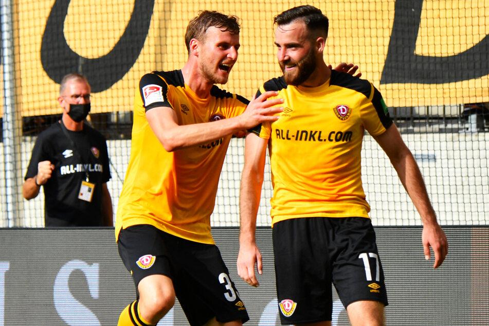 Dynamos Torschützen Morris Schröter (26, r.) und Christoph Daferner (23) spielten richtig stark - wie die gesamte Mannschaft!