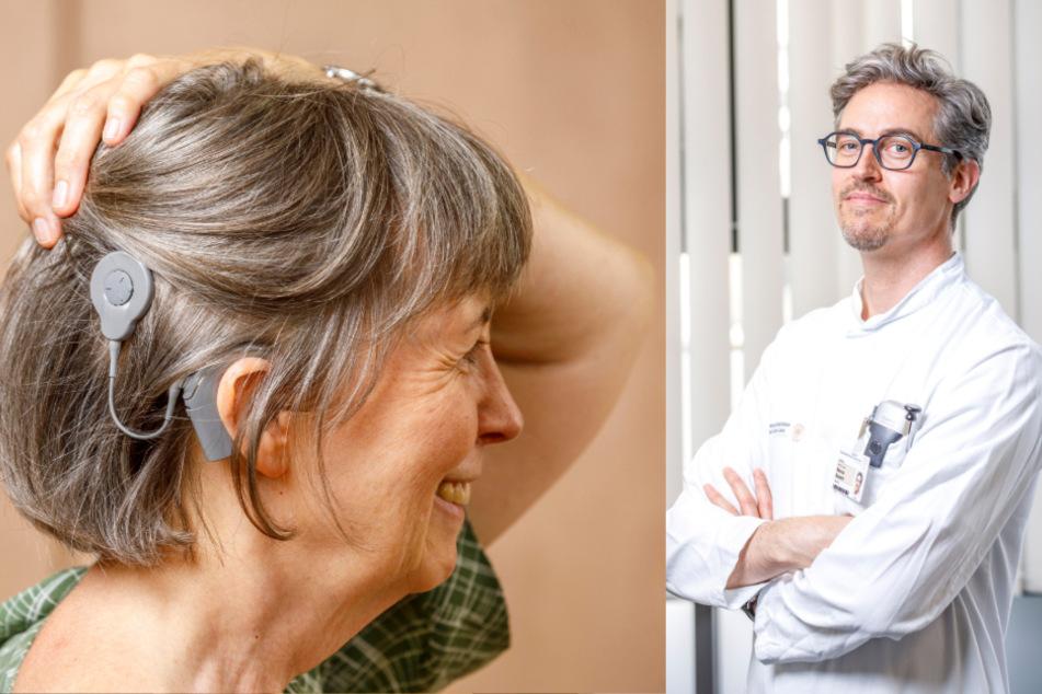 Per Magnet miteinander gekoppelt: Der am Ohr befindliche Audioprozessor mit dem Mikrofon kann jederzeit durch ein moderneres Modell ersetzt werden - bei Angela Knölker schon vier Mal.