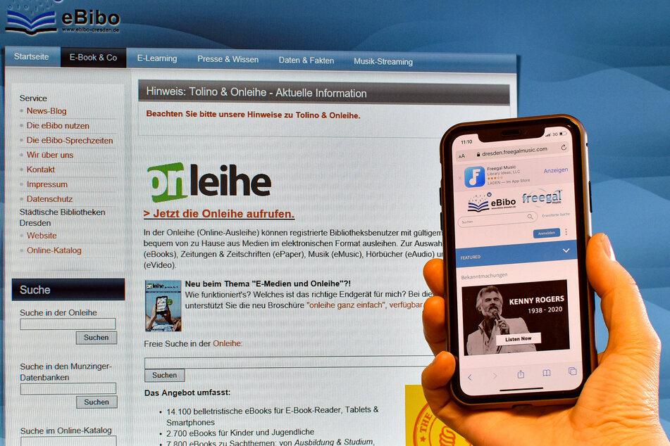 Blick auf das Onlineangebot der Städtischen Bibliotheken Dresden.
