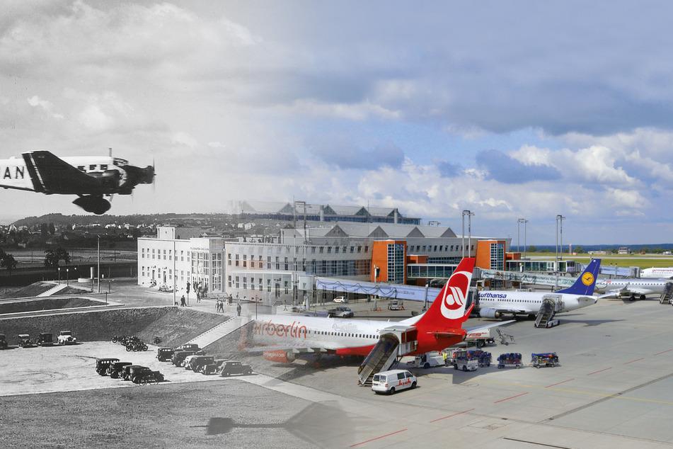Damals und heute. Links das Hansa-Haus von 1935, rechts das moderne Terminal. Allerdings: Das Hansa-Haus war weitaus länger als hier gezeigt. Der neue Flughafenteil befindet sich nicht an derselben Stelle.