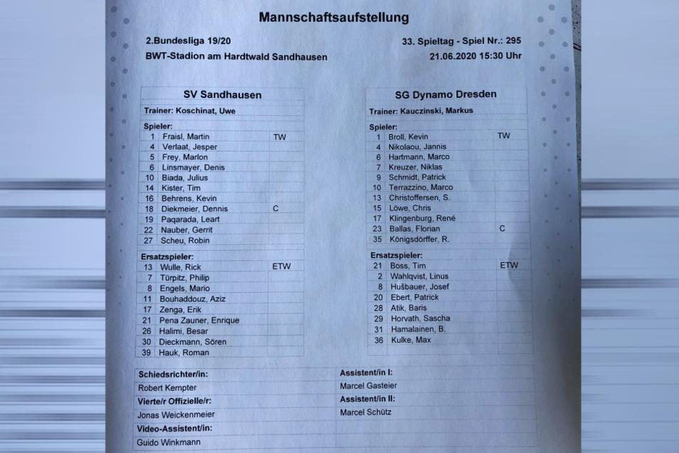 Dynamo Dresdens Mannschaftsaufstellung für das Spiel beim SV Sandhausen.